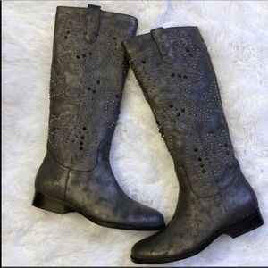 FRYE & Co. Studded Distressed Tall Pull On Boots